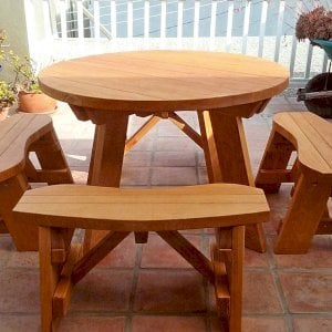 Round Picnic Table (Options: 4' Diameter, Unattached Benches, Douglas-fir, Round Picnic Bench, Standard Tabletop, No Lazy Susan, No Umbrella Hole, Transparent Premium Sealant). Photo Courtesy of M. Overeem of Marina del Rey, CA.