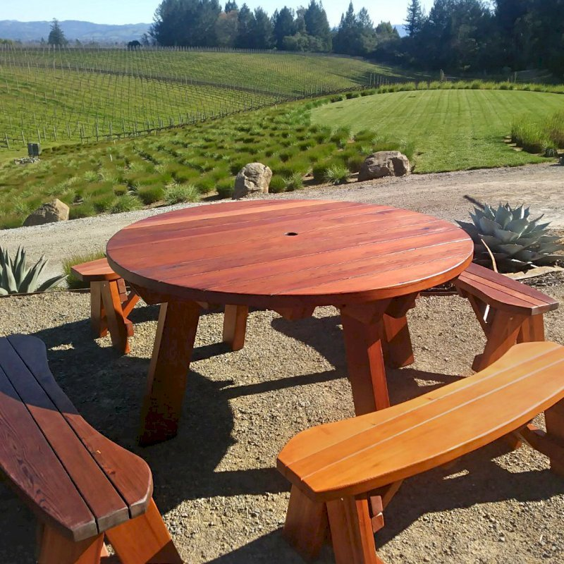 Brilliant Round Wooden Picnic Table With Detached Benches Andrewgaddart Wooden Chair Designs For Living Room Andrewgaddartcom