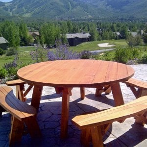 Round Picnic Table (Options: 6' diameter, Unattached Benches, Redwood, Round Picnic Bench, Standard Tabletop, No Lazy Susan, Umbrella Hole, Transparent Premium Sealant). Photo Courtesy of Frank Dwyer of Park City, Utah.