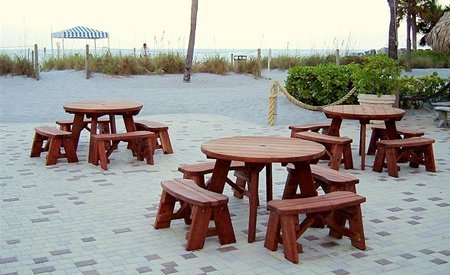 Round Wooden Picnic Table With Detached Benches - Teak picnic table with detached benches