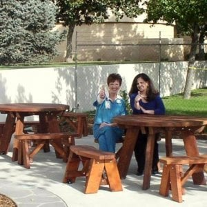 Round Picnic Tables (Options: 4' diameter, Unattached Benches, Mature Redwood, Round Picnic Bench, Standard Tabletop, No Lazy Susan, No Umbrella Hole, Transparent Premium Sealant).