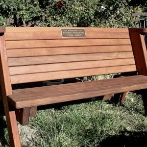 Rustic Bench (Options: 5 ft, Mature Redwood, No Cushion, No Engraving - Plaque made locally and shipped to us for inlaying and installation, Transparent Premium Sealant).