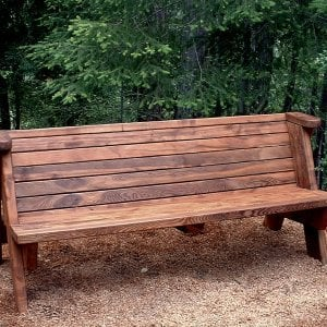 Rustic Bench (Options: 6 ft, Old-Growth Redwood, No Cushion, No Engraving, Transparent Premium Sealant). Shows original design for backrest without opening near seat. If you prefer this detail, please just mention it in the comment box at checkout.
