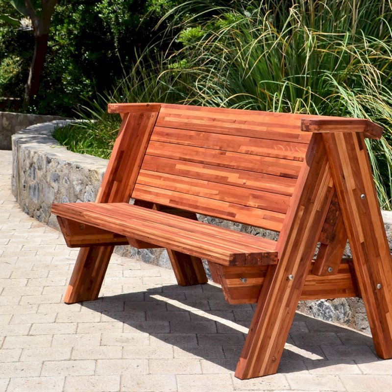 Rustic Bench (Options: 5 ft, Mosaic Eco-Wood, No Cushion, No Engraving, Transparent Premium Sealant).