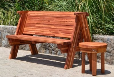 Rustic Redwood Bench