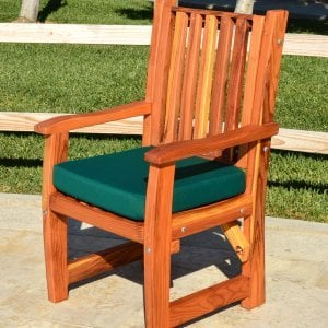 Ruth Chair (Options: With Arms, Redwood, Forest Green Cushion, Transparent Premium Sealant).