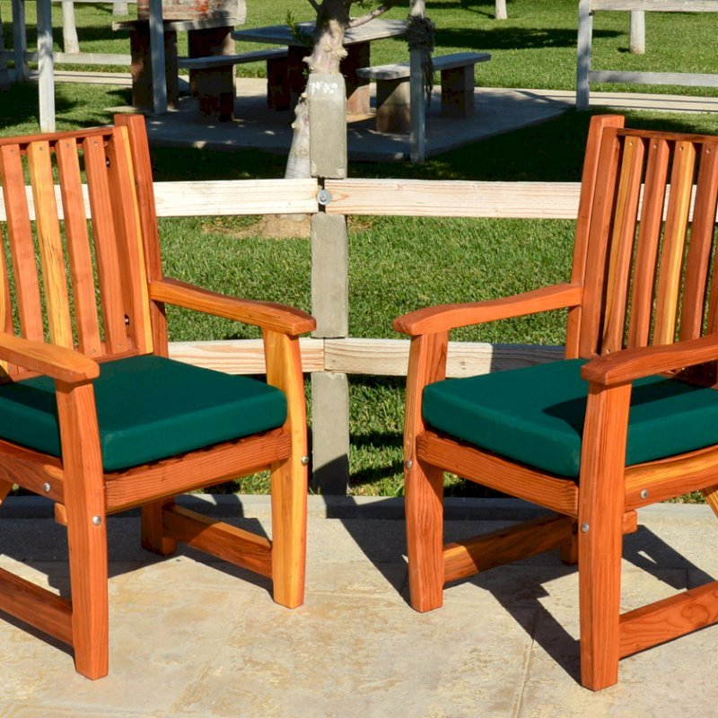 Ruth Chairs (Options: With Arms, Redwood, Forest Green Cushion, Transparent Premium Sealant).