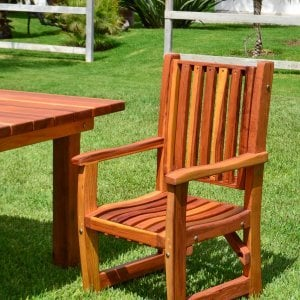 Ruth Chair (Options: With Arms, Redwood, No Cushion, Transparent Premium Sealant).