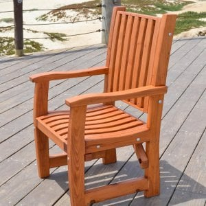 Ruth Chair (Options: With Arms, Mature Redwood, No Cushion, Transparent Premium Sealant).