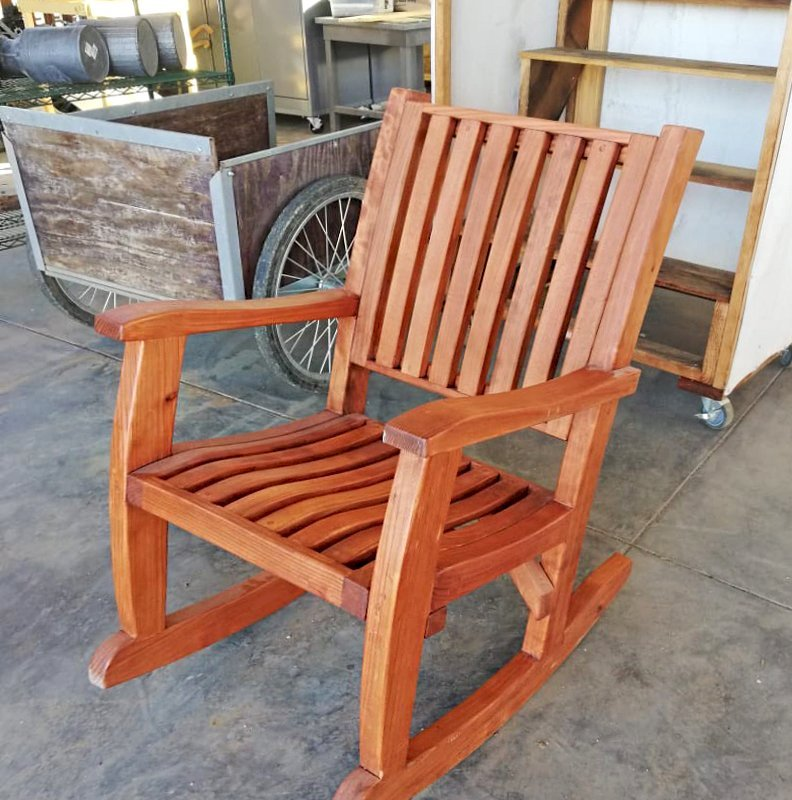 Marvelous Redwood Outdoor Rocker Hand Crafted Wooden Rocker Bralicious Painted Fabric Chair Ideas Braliciousco