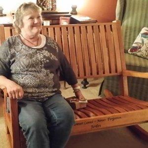 Ruth Rocking Bench (Options: Deep, Redwood, No Cushion, Custom Engraving, Transparent Premium Sealant). Photo Courtesy of Terri Stewart of Olathe, Kansas.