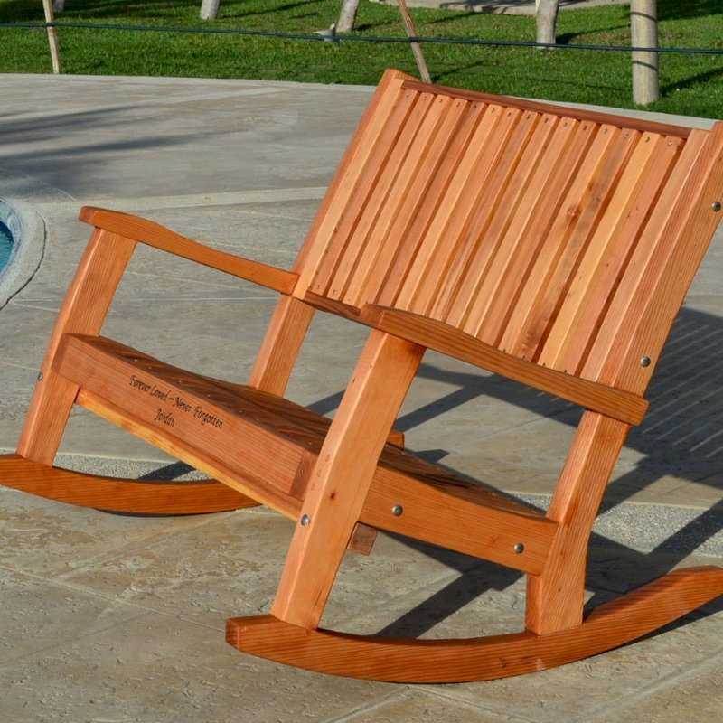 Ruth Rocking Bench (Options: Deep, Redwood, No Cushion, Custom Engraving, Transparent Premium Sealant).