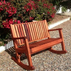 Ruth Rocking Bench (Options: Deep, Old-Growth Redwood, No Cushion, No Engraving, Transparent Premium Sealant).