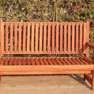 Ruth Bench (Options: 5 ft, Redwood, No Cushion, No Engraving, Transparent Premium Sealant).