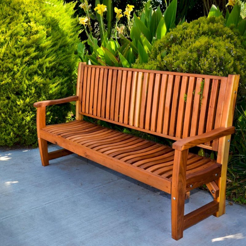 Ruth Bench (Options: 6 ft, Redwood, No Cushion, No Engraving, Transparent Premium Sealant).