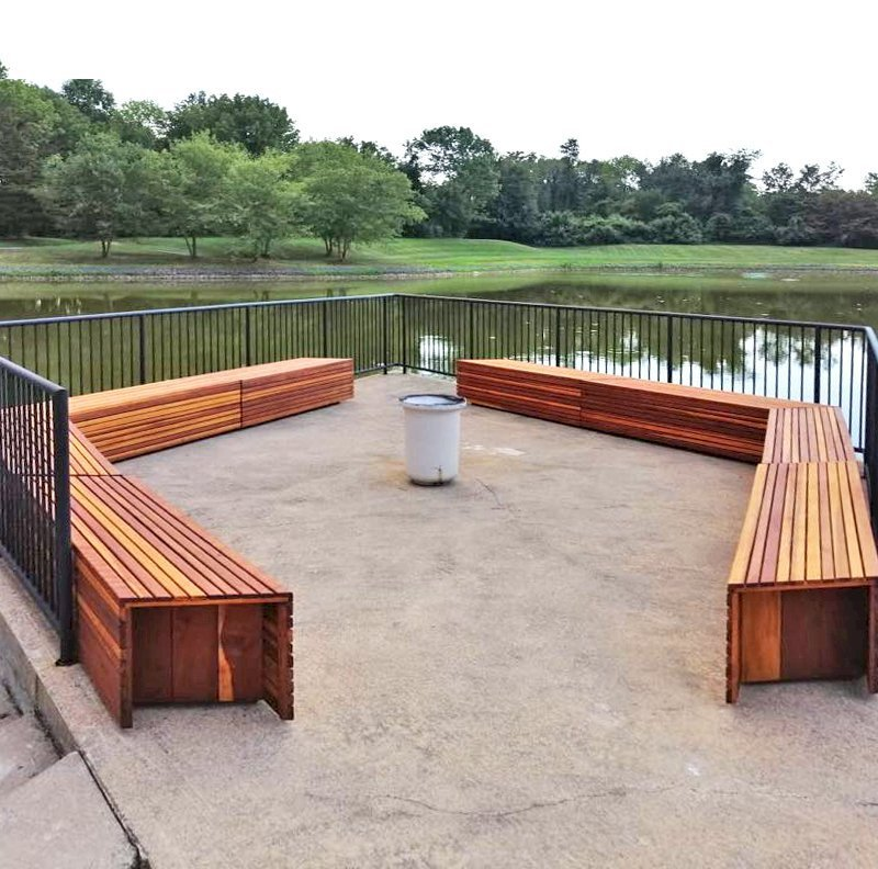 Custom San Diego Portside Wooden Bench (Options: California Redwood, No Engraving, Transparent Premium Sealant, Design Modified by Custom Request). Photo Courtesy of A. Arena of Morristown, New Jersey.