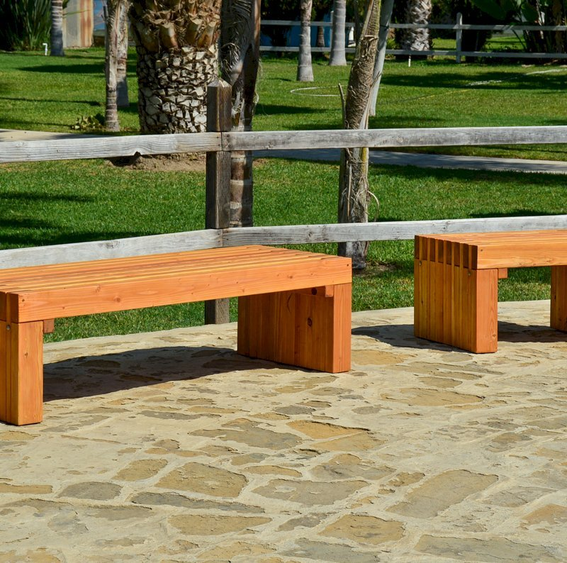 The San Diego Portside Wooden Bench (Options: 5ft L-left , 2.5ft L-rigth, x 2 1/2 inches W x 17 inches H, Douglas-fir, No Engraving, Transparent Premium Sealant)