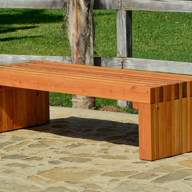 The San Diego Portside Wooden Bench (Options: 5ft L x 2 1/2 inches W x 17 inches H, Douglas-fir, No Engraving, Transparent Premium Sealant)