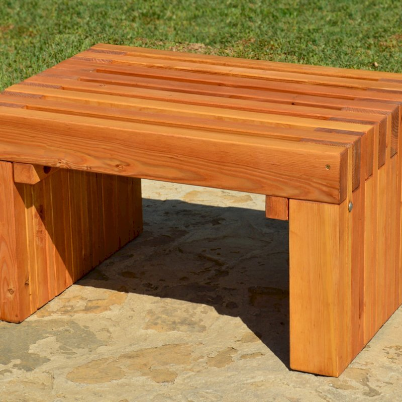 The San Diego Portside Wooden Bench (Options: 2.5ft L x 2 1/2 inches W x 17 inches H, Douglas-fir, No Engraving, Transparent Premium Sealant)