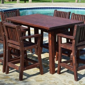 San Francisco Cocktail Table (Options: 6ft Length, 31 1/2 inches wide, Cocktail Bar Stools, Redwood, Table Height 44 inch height, 6 Stools, No Swivel, No Cushions, Standard Tabletop, Squared Corners, No Umbrella Hole, Coffee-Stain Premium Sealant).
