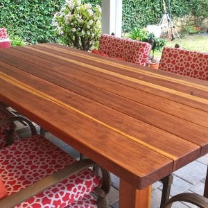 "San Francisco Patio Table (Options: 7' L, 42"" W Tabletop, Redwood, No Seating [Photo Shows Customer's Chairs], Standard Tabletop, Slightly Rounded Corners, No Umbrella Hole, Transparent Premium Sealant). Photo Courtesy of Paul Oh of Agoura Hills, CA."