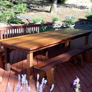 "San Francisco Patio Table (Options: 12' L, 46"" W Tabletop, Side Benches, Mature Redwood, Classic Forever Benches, 2 Half Length Benches Per Side, Standard Tabletop, Squared Corners, No Umbrella Hole, Transparent Premium Sealant)."