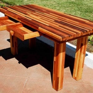 "San Francisco Patio Table (Options: 5' L, 28 3/4"" W Tabletop, No Seating, Mosaic Eco-wood, Seamless Tabletop, Slightly Rounded Corners, No Umbrella Hole, Transparent Premium Sealant). Custom detail: this table had 2 drawers added under the apron for convenient storage."