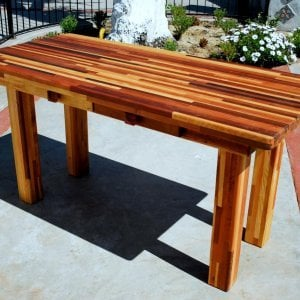 "San Francisco Patio Table (Options: 5' L, 28 3/4"" W Tabletop, No Seating, Mosaic Eco-wood, Seamless Tabletop, Slightly Rounded Corners, No Humbrella Hole, Transparent Premium Sealant). Custom detail: this table had 2 drawers added under the apron for convenient storage."