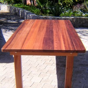 "San Francisco Patio Table (Options: 8' L, 46"" W Tabletop, No Seating, Old-Growth Redwood, Seamless Tabletop, Rounded Corners, No Umbrella Hole, Transparent Premium Sealant)."
