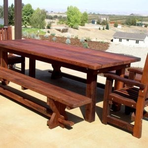 "San Francisco Patio Table (Options: 8' L, 34 1/2"" W Tabletop, Benches & End Armchairs , Old-Growth Redwood, Ruth Chairs, No Cushions, Trestle Benches, 1 Full Length Benches Per Side, Standard Tabletop, Rounded Corners, No Umbrella Hole, Transparent Premium Sealant)."