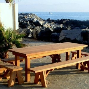 "San Francisco Patio Table (Options: 8' L, 34 1/2"" W Tabletop, Side and End Benches, Douglas-fir, Classic Picnic Benches, 1 Full Length Benches Per side, Standard Tabletop, Squared Corners, No Umbrella Hole, Transparent Premium Sealant)."