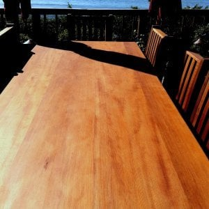 "Seamless tabletop detail photo (Options: 8'L, 40 1/4"" W Tabletop, Chairs, Old-Growth Redwood, Seamless Tabletop, 6 Chairs, Ruth, All Side Chairs, No Cushion, Squared Corners, No Umbrella Hole, Transparent Premium Sealant)."