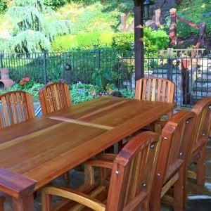 "San Francisco Patio Table (Options: 8' L, 40 1/4"" W Tabletop, Chairs, Redwood, 8 Chairs, Luna Chair Design, All Arm Chairs, No Cushions, Old Country Tabletop, Standard, Rounded Corners, No Umbrella Hole, Transparent Premium Sealant). Photo Courtesy of B. Andersen of Hasbrouck Heights, New Jersey."