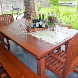 "San Francisco Patio Table (Options: 7' L, 46"" W Tabletop, Mature Redwood, Side Benches & End Chairs, Trestle Bench, Luna Chairs, Old Country Tabletop, Standard, Rounded Corners, 2 Half Length Benches Per Side, No Umbrella Hole, Transparent Premium Sealant). Photo Courtesy of D. Barry of Houston, Texas."