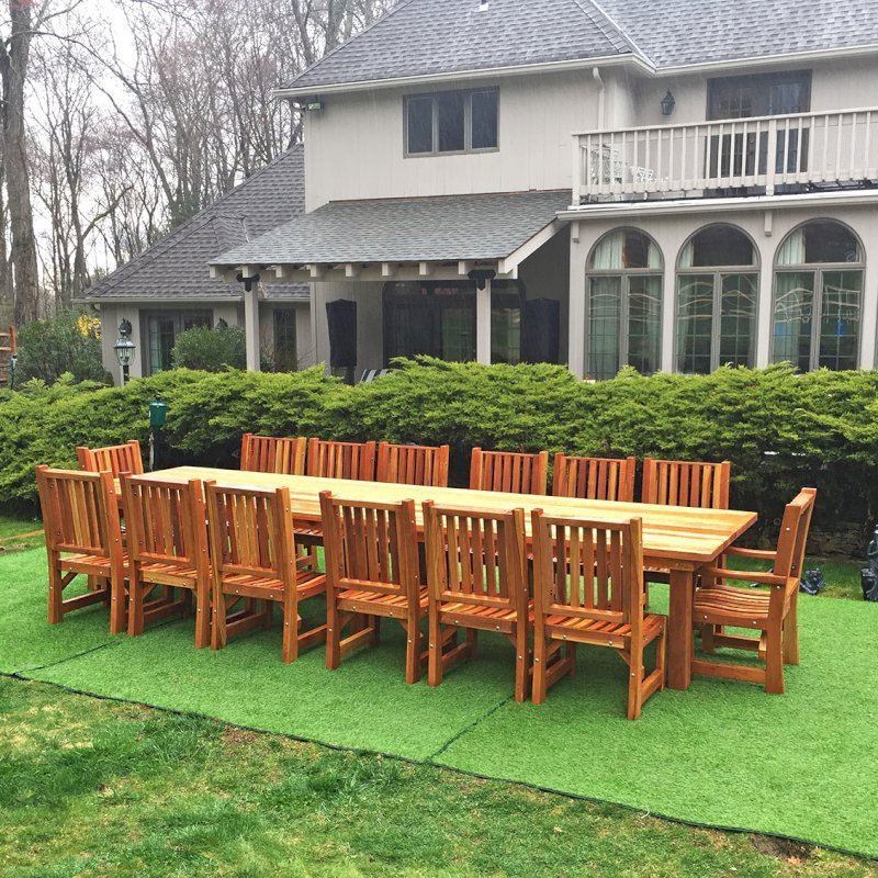 """San Francisco Patio Table (Options: 14' L, 48"""" W Tabletop, Chairs, California Redwood, 14 Chairs, Ruth Chair Design, 2 Armchairs + Side Chairs, No Cushions, Custom Tabletop - Book Ended Boards to Create Illusion That it is Only 4 Boards, Each 11 1/2"""" Wide, Rounded Corners, No Umbrella Hole, Transparent Premium Sealant). Photo Courtesy of P. Scaturro of Bedford, New York."""