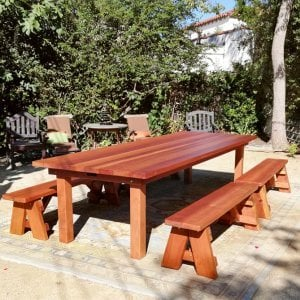 "San Francisco Patio Table (Options: 10' L, 48"" W Tabletop, Redwood, Side Benches, Classic Picnic Benches, Standard Tabletop, Slightly Rounded Corners, 2 Half Length Benches Per Side, No Umbrella Hole, Transparent Premium Sealant). Photo Courtesy of R. Calip od Los Angeles, California."