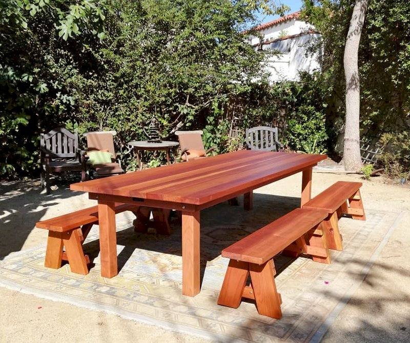 Groovy Redwood Patio Table Custom Made Redwood Dining Tables Bralicious Painted Fabric Chair Ideas Braliciousco
