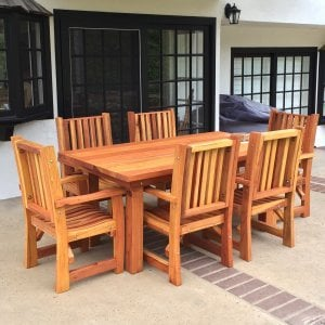 "San Francisco Patio Table (Options: 6 ft, 40 1/4"" W Tabletop, Chairs, Redwood, 6 Chairs, Ruth, All Arm Chairs, No Cushions, Standard Tabletop, Slightly Rounded Corners, 2"" Umbrella Hole, Transparent Premium Sealant). Photo Courtesy of B. Hohl of Newport Beach, CA."