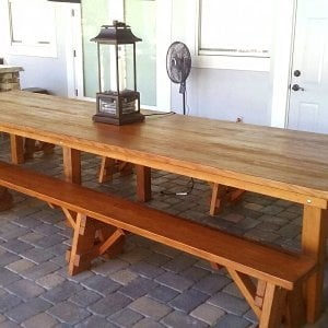 "San Francisco Patio Table (Options: 14' L, 46"" W Tabletop, Old-Growth Redwood, Side Benches, Classic Picnic Benches, Seamless Tabletop, Slightly Rounded Corners, No Umbrella Hole, Transparent Premium Sealant). Photo Courtesy of M. Longwood of Longwood, FL."
