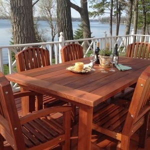 "San Francisco Patio Table (Options: 8' L, 46"" W Tabletop, Chairs, Old-Growth Redwood, 6 Luna Chairs, 2 Armchairs & Side Chairs, No Cusions, Old Country Tabletop - Standard, Squared Corners, No Hole, Transparent Premium Sealant). Photo Courtesy of Christine Talaber of Antioch, Illinois."