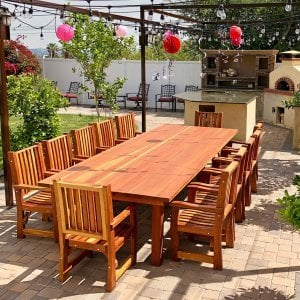 "San Francisco Patio Table (Options: 12' L, 57 1/2"" W Tabletop, Redwood, Ruth Chairs, All Arm Chairs, Standard Tabletop, Slightly Rounded Corners, No Umbrella Hole, Transparent Premium Sealant). Photo Courtesy of R. Costigliolo of Glendora, CA."