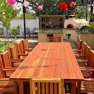 """San Francisco Patio Table (Options: 12' L, 57 1/2"""" W Tabletop, Redwood, Ruth Chairs, All Arm Chairs, Standard Tabletop, Slightly Rounded Corners, No Umbrella Hole, Transparent Premium Sealant). Photo Courtesy of R. Costigliolo of Glendora, CA."""