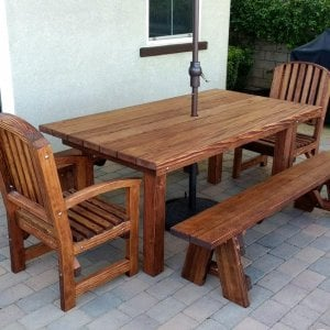 "San Francisco Patio Table (Options: 6' L, 40 1/4"" W Tabletop, Douglas-fir, Side Benches & End Chairs, Luna Chairs, Classic Picnic Benches, Standard Tabletop, Square Corners, 1 5/8"" Umbrella Hole, Coffee Stain Premium Sealant). Photo Courtesy of H. M. Via of Valencia, CA. Douglas-Fir when stained dark creates a ""tiger stripe"" effect as shown in this photo. It is beautiful and most customers love it. If you are looking for a dark consistent stain, please go with Mature Redwood for the most consistent staining result."