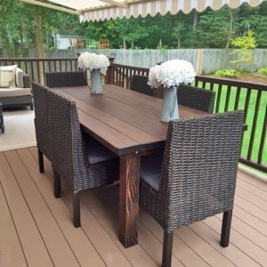 "San Francisco Patio Table (Options: 7' L, 40 1/4"" W Tabletop, Redwood, No Seating [Photo shows customer's chairs], No Cushions, Standard Tabletop, Slightly Rounded Corners, No Umbrella Hole, Coffee-Stain Premium Sealant). Photo Courtesy of K. Konetsky of Williamsburg, VA."