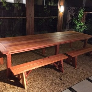 "San Francisco Patio Table (Options: 12' L, 46"" W Tabletop, Side Benches, Redwood, Classic Picnic Benches, 2 Half Leggth Benches Per Side, Old-Country Tabletop - Standard, Rounded Corners, No Umbrella Hole, Transparent Premium Sealant). Photo Courtesy of Steve Carlson of Playa del Rey, CA."