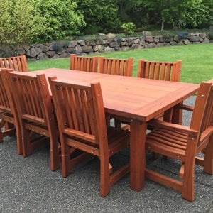 "San Francisco Patio Table (Options: 8 ft, 46"" W Tabletop, Chairs, Mature Redwood, 8 Chairs, Ruth, 2 Armchairs + Side Chairs, No Cushions, Standard Tabletop, Squared Corners, No Umbrella Hole, Transparent Premium Sealant). Photo Courtesy of L. Ben-Gan of Redmond, WA."