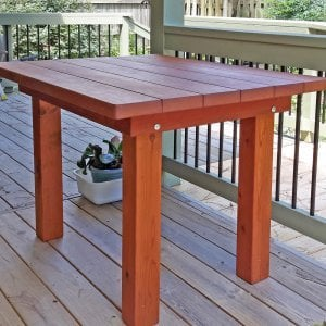 "San Francisco Patio Table (Options: 4' L, 34 1/2"" W Tabletop, Mature Redwood, No Seating, Standard Tabletop, Slightly Rounded Corners, No Umbrella Hole, Transparent Premium Sealant). Photo Courtesy of L. Moran of Virginia Beach, VA."