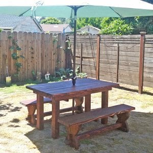 "San Francisco Patio Table (Options: 5' L, 34 1/2"" W Tabletop, Redwood, Side Benches, Trestle Benches, Standard Tabletop, Slightly Rounded Corners, 2"" Umbrella Hole, Transparent Premium Sealant). Photo Courtesy of M. Figueroa of Burlingame, CA."