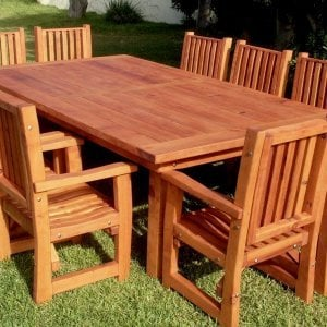 "San Francisco Patio Table (Options: 10' L, 57 1/2"" W Tabletop, Chairs, Douglas-fir, 10 Chairs, Ruth Chair Design, All Armchairs, No Cushions, Old-Country Standard Tabletop, Slightly Rounded Corners, No Umbrella Hole, Transparent Premium Sealant)."