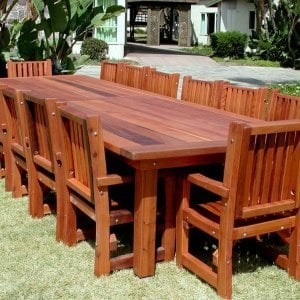 "San Francisco Patio Table (Options: 14' L, 57 1/2"" W Tabletop, Chairs, Old-Growth Redwood, 14 Chairs, Ruth, All Arm Chairs, No Cushions, Old-Country Tabletop, Squared Corners, No Umbrella Hole, Transparent Premium Sealant)."